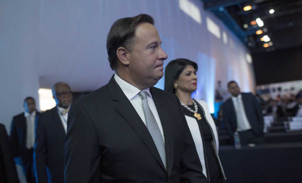 Juan Carlos Varela Rodríguez, president of the Republic of Panama, arrives in the opening Ceremony of the 17th International Anti-Corruption Conference, IACC, in Panama City, Panama, Thursday, Dec. 1, 2016. (Mauro Pimentel)