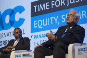 "From left to right. Salil Shetty, Secretary General of Amnesty International and Peter Eigen, Founder, Chair Advisory Council, Founder and Chair of the Advisory Council, during the panel ""Time for equity"" in the second day of 17th International Anti-Corruption Conference, IACC in Panama City, Panama, Friday, Dec. 2, 2016. (Mauro Pimentel)"