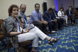 """Elizabeth Ungar, executive director of Transparency International Colombia, during the panel """"Latin america and it's anti-corruption responses: a balance of process"""" in the second day of 17th International Anti-Corruption Conference, IACC in Panama City, Panama, Friday, Dec. 2, 2016. (Mauro Pimentel)"""