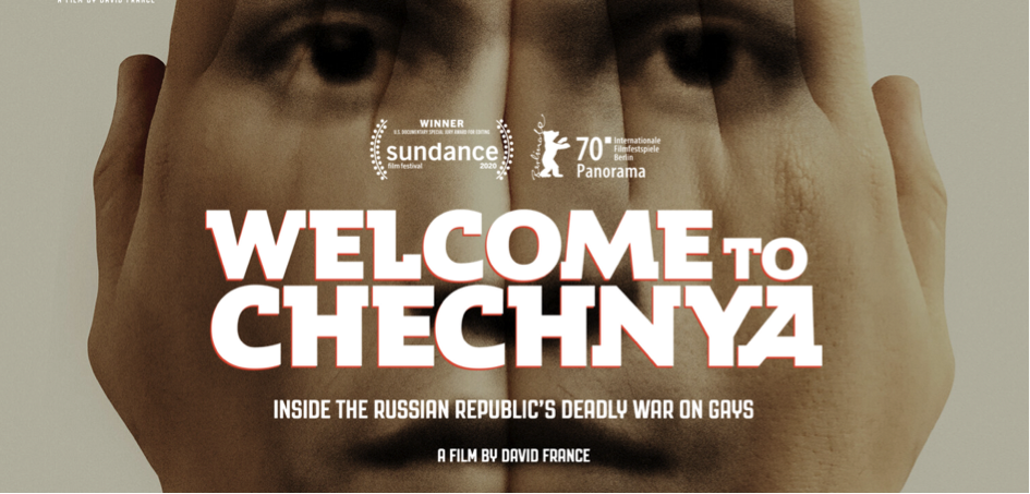 """Film poster with a face superimposed on hands, reading: """"Welcome to Chechnya"""""""